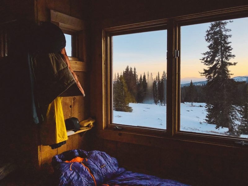 Window and snow with sleeping bag