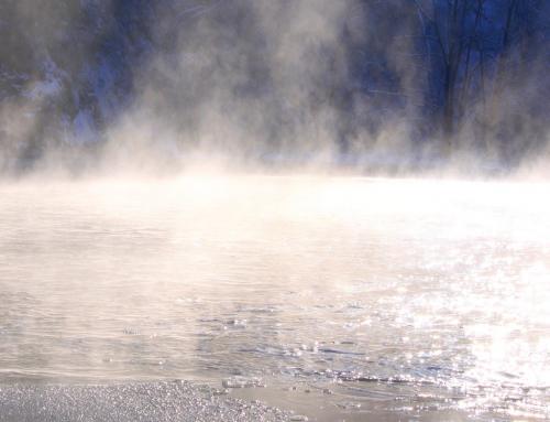 Masse d'eau piégée par un évaporateur