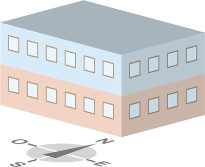 Illustration division du bâtiment en plusieurs zones.