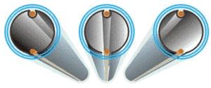 Schéma tubes sous vide avec absorbeurs sur support en verre.