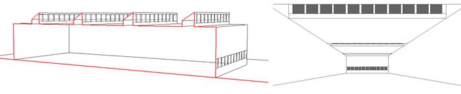 Schéma ouvertures verticales vers le nord en toiture.