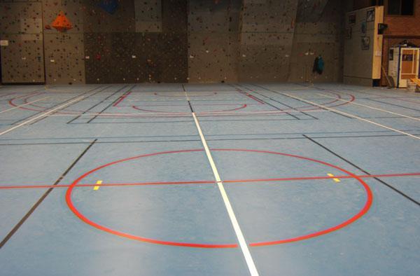 Photo couleur des lignes de jeux dans une salle de sport.
