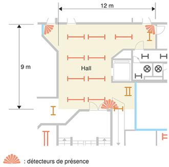 Schéma emplacement des détecteurs.