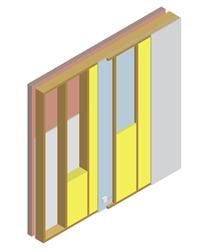 Principe du mur à ossature bois.