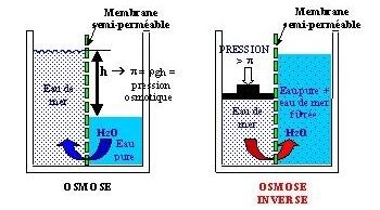 Schéma principe osmoseur inverse.