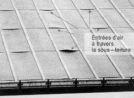 Mauvaise mise en œuvre d'une toiture souple.