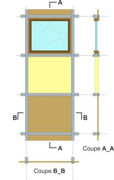 Schéma exemple de module de façade légère.