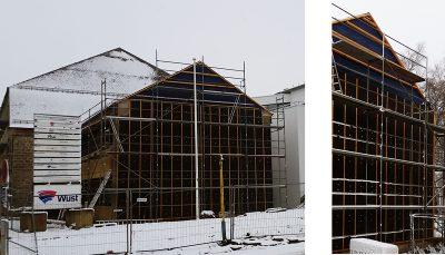 Photo de la façade existante durant les travaux.
