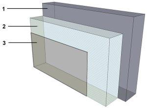 Schéma explicatif sur l'isolation par l'extérieur couverte d'un crépi.